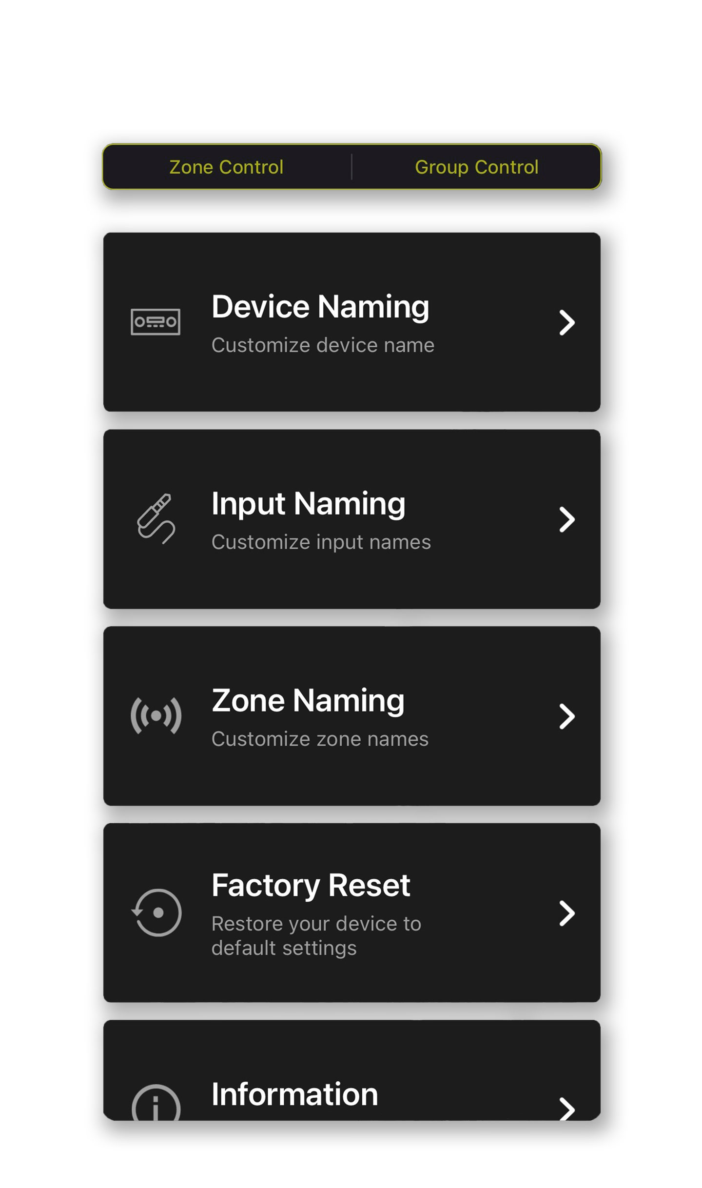 Customize all of your input source names to ensure that you can quickly identify what source you are listening to after you install the unit.